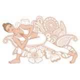 Silhouette de femmes Pose tournée de yoga d'angle latéral Parivrtta Parsvakonasana illustration libre de droits