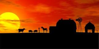 Silhouette de ferme Photographie stock libre de droits