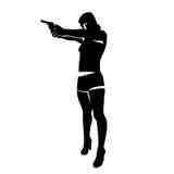 Silhouette de fille de tir Images stock