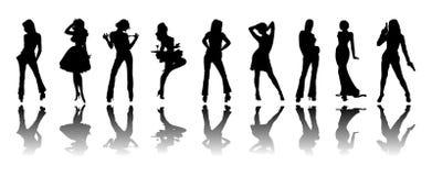silhouette de filles Images libres de droits