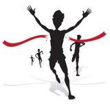 Silhouette de gain d'athlète Photographie stock libre de droits
