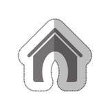 Silhouette de gamme de gris avec l'autocollant moyen d'ombre avec la maison d'animal familier Images libres de droits
