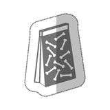 Silhouette de gamme de gris avec l'autocollant moyen d'ombre avec le sac d'animal familier pour la dunette Photographie stock libre de droits