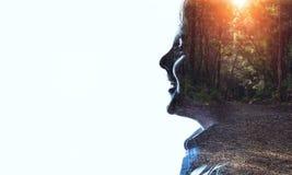 Silhouette de garçon sur le blanc Media mélangé Photographie stock libre de droits