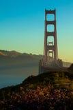Silhouette de golden gate bridge Image stock