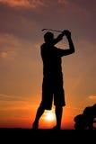 Silhouette de golfeur Photographie stock libre de droits