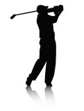 Silhouette de golfeur avec l'ombre Images libres de droits