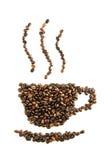 Silhouette de grain de café et de soucoupe Image libre de droits