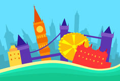 Silhouette de gratte-ciel de ville d'horizon d'abrégé sur de Londres Images libres de droits