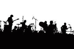 Silhouette de groupe de rock Images stock