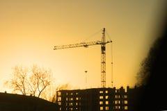 Silhouette de grue de chantier de construction Image libre de droits