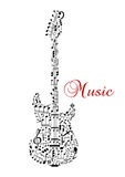 Silhouette de guitare avec les notes musicales Photo stock