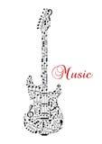 Silhouette de guitare avec les notes musicales Photo stock