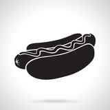 Silhouette de hot-dog avec de la moutarde illustration de vecteur