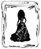 Silhouette de jeune mariée belle Image libre de droits