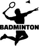 Silhouette de joueur de badminton avec le mot Images stock