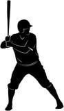 Silhouette de joueur de baseball Photo libre de droits