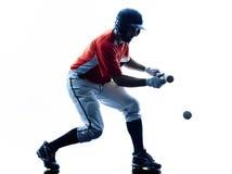 Silhouette de joueur de baseball d'homme d'isolement Photo libre de droits