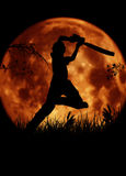 Silhouette de joueur de cricket, batteur avec le MOO orange Photo libre de droits