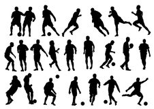 Silhouette de joueur de football 23 Photos stock