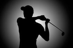 Silhouette de joueur de golf photos libres de droits