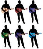 Silhouette de joueur de guitare Photographie stock libre de droits