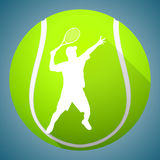 Silhouette de joueur de tennis Photographie stock libre de droits