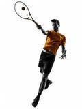 Silhouette de joueur de tennis d'homme Photo stock