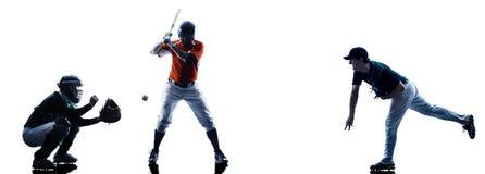 Silhouette de joueurs de baseball d'hommes d'isolement Photographie stock libre de droits