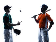 Silhouette de joueurs de baseball d'hommes d'isolement Photos stock