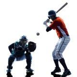 Silhouette de joueurs de baseball d'hommes d'isolement Photographie stock