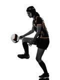 Silhouette de joueuse de femme de rugby image stock