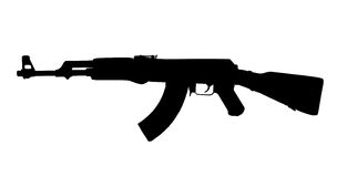 Silhouette de kalachnikov d'AK47 Photographie stock