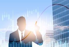 Silhouette de l'épargne de finances de bannière d'affaires de Financial Graph Banking d'homme d'affaires Image stock