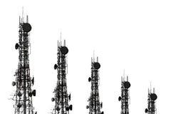 Silhouette de l'antenne du téléphone portable et du communicati cellulaires Photos stock