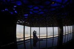 Silhouette de l'embrassement de jeunes mariés Photographie stock libre de droits