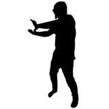 Silhouette de l'homme avec l'acacia Image libre de droits