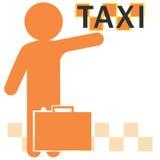 Silhouette de l'homme avec la main augmentée attrapant un taxi Image stock