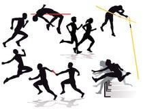 Silhouette de la concurrence d'athlètes Photo stock