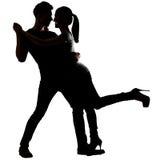 Silhouette de la danse asiatique de couples Photos libres de droits