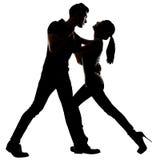 Silhouette de la danse asiatique de couples Photos stock