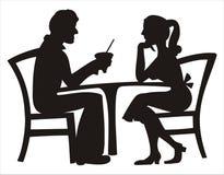 Silhouette de la datation de couples Photos stock