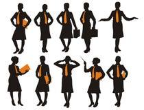 Silhouette de la femme d'affaires Photos stock