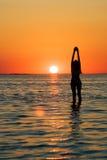 Silhouette de la jeune femme Photo stock