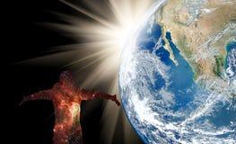 Silhouette de la NASA de l'homme et de la terre images stock