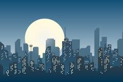 Silhouette de la ville dans un paysage urbain moderne de style plat photo stock
