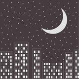Silhouette de la ville de nuit. Étoiles et lune dans le ciel. illustration libre de droits