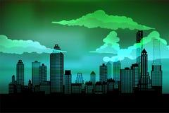 Silhouette de la ville Fond de paysage urbain Horizontal urbain Pour la bannière ou le calibre Ville moderne avec des couches illustration de vecteur