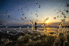 Silhouette de lancement de pêche Image stock
