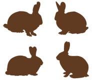 Silhouette de lapins Images stock